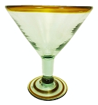 Grande Martini / Margarita Glass<br>26 oz. Amber Rim<br>Hand blown glass from Mexico