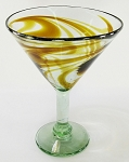 Classic Martini / Margarita Glass<br>15 oz. Amber Swirl<br>Hand blown glass from Mexico