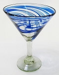Classic Martini / Margarita Glass<br>15 oz. Cobalt Swirl<br>Hand blown glass from Mexico