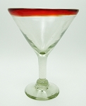 Classic Martini / Margarita Glass<br>15 oz. Red Rim<br>Hand blown glass from Mexico