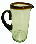 Margarita Pitcher, 56 oz. Amber Rim & Handle<br>Hand blown glass from Mexico