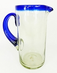 Margarita Pitcher, 56 oz. Cobalt Rim & Handle<br>Hand blown glass from Mexico