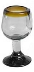 Stemmed Tequila Sipper<br>2.5 oz. - 3 oz. Amber Rim<br>Hand blown glass from Mexico