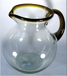 Bola Pitcher, 80 oz. Amber Rim & Handle<br>Hand blown glass from Mexico