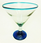 Jumbo Martini / Margarita Glass<br>32 oz. Turquoise Rim<br>Hand blown glass from Mexico