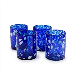 Set of 4 Rocks Glasses<br>12 oz. Cobalt and White Splash<br>Hand blown from Mexico