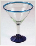 Classic Martini / Margarita Glass<br>15 oz. Turquoise Rim<br>Hand blown glass from Mexico