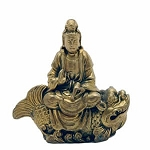 Kwan Yin Sitting on Fish   Brass   China