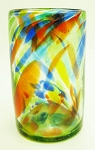 Tumbler Glass, 16 oz. Solid Confetti<br>Hand blown glass from Mexico