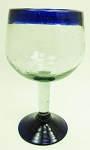 Large Balloon Wine Glass, 16 oz. Cobalt Rim<br>Hand blown glass from Mexico