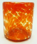 Rocks Glass, 12 oz. Orange Splash<br>Hand blown from Mexico