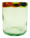 All Purpose Rocks Glass, 12 oz. Confetti Rim<br>Hand blown glass from Mexico