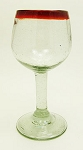 All Purpose Wine Glass, 10 oz. Red Rim<br>Hand blown glass from Mexico