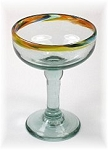 Antigua Margarita / Daiquiri Glass<br>10 oz. Confetti Rim<br>Hand blown glass from Mexico