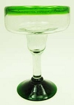 Margarita Glass, 12 oz. Green Rim<br>Hand blown glass from Mexico