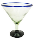 Jumbo Martini / Margarita Glass<br>32 oz. Cobalt Rim<br>Hand blown glass from Mexico