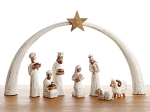 Whitewashed Albizia Nativity, Wood  Indonesia