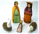 Nativity Scene  Hand Painted  Ceramic  Peru