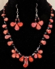 Red Coral and Glass Necklace and/or Matching Earrings