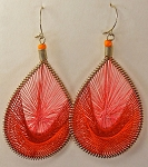 String Art Earrings (or Pendant) - Large Teardrop in red, orange and pink