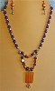 Amber-colored pendant, Pearls, Goldstone & Glass Necklace and/or Matching Earrings