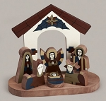 La Palma Nativity 1 Piece set<br> Painted Pine Wood, El Salvador