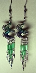 Green colored Spiral String Art Earrings with Beads and Dangles