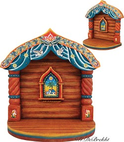 Russia - Folk Nativity Manger (Stable) 10 inches tall