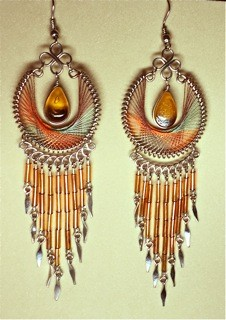 Teardrop String Art Earrings or Pendant, with Beads and Dangles