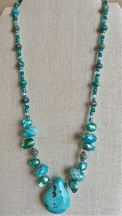 Turquoise Colors Necklace with Jasper, Pearls, Glass &  Sterling Silver