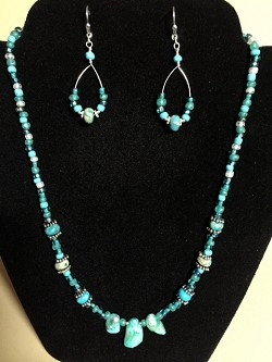 Multi-colored Turquoise Necklace, Earrings