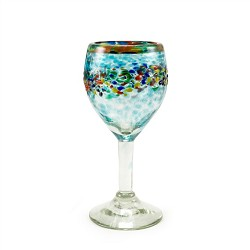 Set of 4 Wine Glasses 12 oz.<br>Confetti Rim with Turquoise Splash and Confetti<br>Hand blown from Mexico