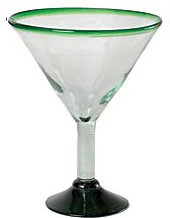 Classic Martini / Margarita Glass<br>15 oz. Green Rim<br>Hand blown glass from Mexico