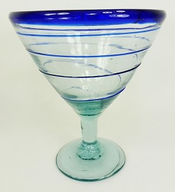 Martini / Margarita Glass, 12 oz. Cobalt Whirl<br>Hand blown glass from Mexico