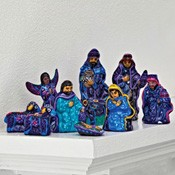Mexico - Ceramic 9 piece nativity, tallest figure: 3 1/2 in. h