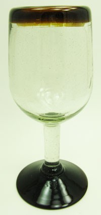 Traditional Wine Glass, 11 oz. Amber Rim<br>Hand blown glass from Mexico