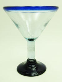 Martini / Margarita Glass, 20 oz. Cobalt Blue Rim<br>Hand blown glass from Mexico