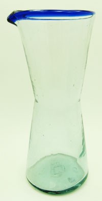 "1 Liter Wine Decanter - Cobalt Rim - 9"" Tall x 4.5"" Wide"