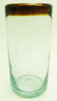 Water Glass, 14 oz. Amber Rim<br>Hand blown glass from Mexico