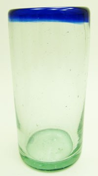 Water Glass, 14 oz. Cobalt Rim<br>Hand blown glass from Mexico