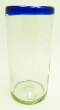 Tall Ice Tea Glass, 22 oz. Cobalt Rim<br>Hand blown from Mexico