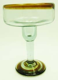 Margarita Glass, 12 oz. Amber Rim<br>Hand blown glass from Mexico