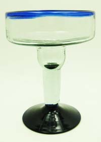 Margarita Glass, 12 oz. Cobalt Rim<br>Hand blown glass from Mexico