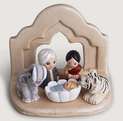 "Bengal Nativity Scene, Ceramic, India - 3"" L x 2"" W x 2.5"" H"