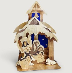 Bangladesh - 1 piece, Folding Wheatstraw Nativity Scene