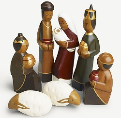 Indonesia - Hand carved 7 piece nativity, tallest 7 inches