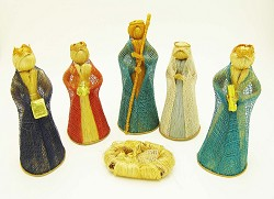 "Philippines - Hand Made 6 pieces, Figures 6"" high, Colored"