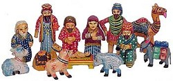India - Painted wood; Traditional 14 pieces - up to 4.5 in. high
