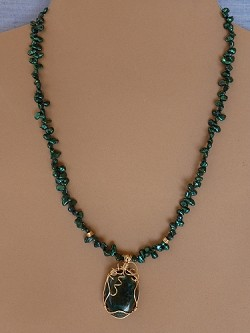Pearls & Wire-wrapped Gemstone Pendant Necklace