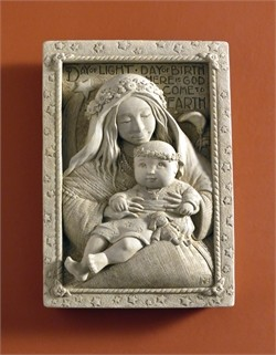 Madonna & Child, Natural Stone, 6.25 in. W x 9 in. H x 2 in. D